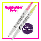 100/200/300/500/1000 Dual Purpose Highlighter Printed Pens - Pink or Yellow