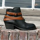 H By Hudson Black Tan Horrigan Strap Distressed Suede Leather Ankle Boots 8 41