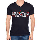Muay Thai Fighting Tigers Mens MMA UFC V-Neck T-Shirt w bjj 1 FREE Tapout Decal