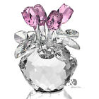 New Crystal Cut Glass Flower Figurines Rose Living Room Wedding Gift Ornaments