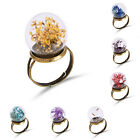 Dry Dried Flower Pearl Dandelion Inside Glass Ball Rings Womens Lady Adjustable
