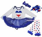 Bastille Day Heart L/S Bodysuit Bling Star Baby Dress Leg Warmer Shoes Set 0-18M