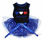 Bastille Day 14th July Black Top Blue Bling Sequins Pet Dog Puppy Cat Dress Bow