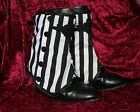 Stripey Spats black & white Goth Steampunk Victorian Burlesque OBSIDIAN NEW