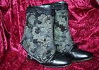 Damask Brocade spats black green Goth Steampunk Victorian Burlesque OBSIDIAN NEW