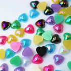 200PCS  8mm Heart  AB Color Acrylic Rhinestone Stone Flatback Beads ZZ446