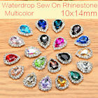 10Pcs 10X14mm Waterdrop Button Crystal Sew On D-Claws Rhinestones For Clothing