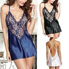 Women Lace Satin Lingerie Robe Dress Pajamas Sleepwear Nightwear Underwear New