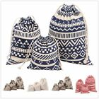 100% Cotton Linen Draw String Buggy Bags Laundry Bag Ethnic Floral Storage Bags