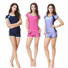 Summer Muslim Women Swimwear Islamic Short Sleeve Swimming Beachwear Swimsuit