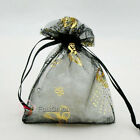 Gold Butterfly Black Organza Wedding Favour Gift Bags Pouch 7x9cm,9x12cm,13x17cm