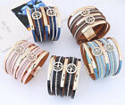 Punk Cool Men Womens Crystal Super wide Leather Bracelet Cuff Wristband Bangle