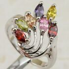 Size 6 7 8 9 Beautiful Mulit-Color CZ Jewelry Gold Filled Woman Gift Ring K2250