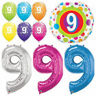 Age 9 - Happy 9th Birthday Qualatex Balloons {Helium Party Balloons Boy/Girl}