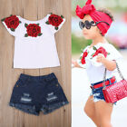 Fashion Toddler Kids Baby Girls 3D Flower Tops Denim Hot Pants Outfits Clothes