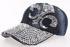 Hot Sale Fashion Rhinestone Fluer De Lis Denim Baseball Peaked Cap Hat