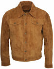 Men's Trucker Casual Tan Goat Suede Leather Shirt Jeans Jacket