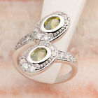 Surprise price Natural Oval Olivine Peridot 4*6mm Gemstone Silver Ring R2004
