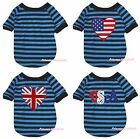 USA US UK Heart Blue Black Striped S/S Top T-Shirt Pet Cat Dog Puppy Clothes