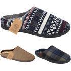 Mens New Flat Bedroom Indoor Comfort Warm Slip On Fur Lined Mules Slippers Shoes