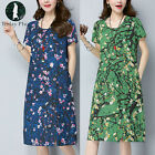 Womens Ladies Summer Retro Vintage Floral Loose Short Sleeve Long Shirt Dress