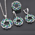 Green Emerald Blue Sapphire CZ 925 Sterling Silver Women Jewelry Sets QZ0379