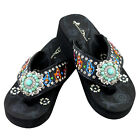 Montana West Flip Flop Sandals Hand Beaded Embroidered Black Turquoise Concho