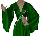 Green TMS Satin Flair Wrap Top Tie Belly Dance Choli Gypsy Tribal 30 Color