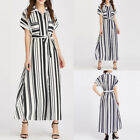 Celmia S-5XL Women's Short Sleeve Stripe Belted Chiffon Long Shirt Maxi Dress