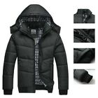 Fashion Mens Cotton Quilted Coat Jacket Winter Padded Warm Hooded Parka Outwear