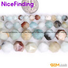 AAA Natural Faceted Multi Color Amazonite Gemstone Beads For Jewelry Making 15""