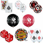 Casino, Poker Party Themed Latex & Foil Qualatex Balloons -Dice,Cards Decoration