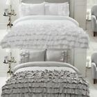 FLAMENCO MODERN FRILLED DUVET COVER EASY CARE RUFFLED TRIM QUILT COVER SETS