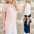 New Fashion Women Short Sleeve Shirt Casual Lace Floral Blouse LooseTops T-Shirt
