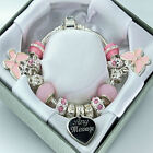 Personalised ENGRAVED Jewellery Pink Charm Bracelet Any Message Birthday Gifts