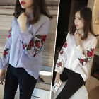 Women's Embroidery Flower Print Long Sleeve Striped Blouse Casual Tops Shirt Tee