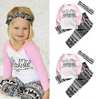 Adorable Baby Kids Girls Clothes T-shirt Pants Headband Outfits Clothes Set 3PCS