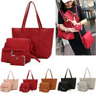 US Ladies Women Satchel Leather 4 PCS/Set Handbag Shoulder Bag Clutch Purse Tote