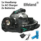 15000LM T6 LED Waterproof Rechargeable Headlamp Head Light Battery AC DC Charger