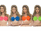 Hawaiian Flowered Bra Neon Ladies Beach Party Fancy Dress 4 Colours