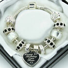 Personalised ENGRAVED Gifts Womens Girls Bracelet Black Clear Beads Jewellery