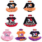Baby Girl Halloween Outfit Romper 2pcs Skull Bodysuit Dress Headband Set Costume