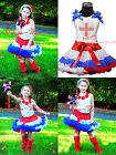 4th July Rhinestone England Heart Rose Girl White Top Red White Blue Skirt 1-8Y