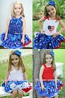 4TH JULY AMERICA PATRIOTIC STAR Pettiskirt Skirt Top Clothing Set Outfit 1-8Year