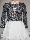 GIRLS BLACK GLITTER KNIT WHITE CHIFFON LAYER RUFFLE PARTY DRESS with NECKLACE
