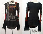 Kera gothic Visual kei fashion cool punk gothic lolita top t-shirt Size S to XL