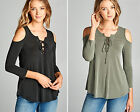 S M L Women's Cold Shoulder Long Sleeve Lace-Up Soft Knit Loose Tunic Top Shirt