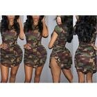 Women Summer Bandage Bodycon Short Sleeve Military Camouflage Party Dress USA
