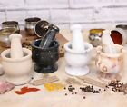 """Pestle and Mortar 3.5"""" 8.5cm Marble Spices Kitchen Home Gift Mini Handmade Herbs"""