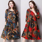 Women Vintage Retro Robes Tunic Printed O Neck Long Sleeve Pocket Knee Dress